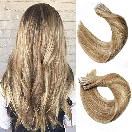 (Tape In Hair Extensions 8A 20pcs/50g Per Set #12P613 Golden Brown Highlighted Blonde Piano Color Double Sided Tape Skin Weft Remy Silk Straight Hair Glue in Extensions Human Hair 14 Inch)