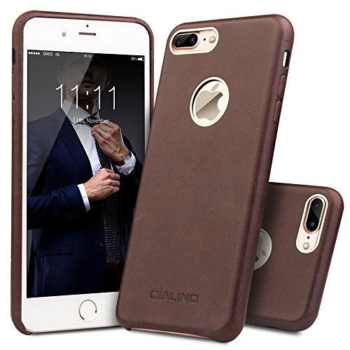 iPhone 7 Plus Case, QIALINO Ultra thin Genuine Leather Back Cover Protective Bumper Case for iPhone 7Plus - Dark Brown (Brown Case Leather Dark)