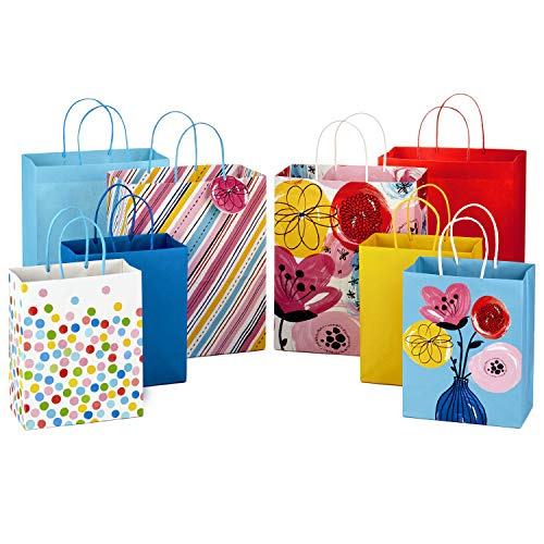 Hallmark Gift Bags Assortment for Birthdays, Baby Showers, Bridal Showers, Any Occasion (Pack of 8; 4 Large, 4 Medium; Floral, Stripes, Polka Dots, Solids)