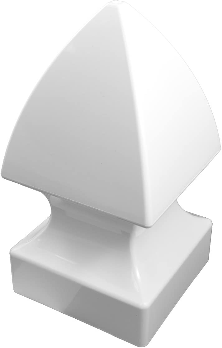 Single Pack White Durable Vinyl Pyramid Post Cap 3.5 Inch x 3.5 Inch