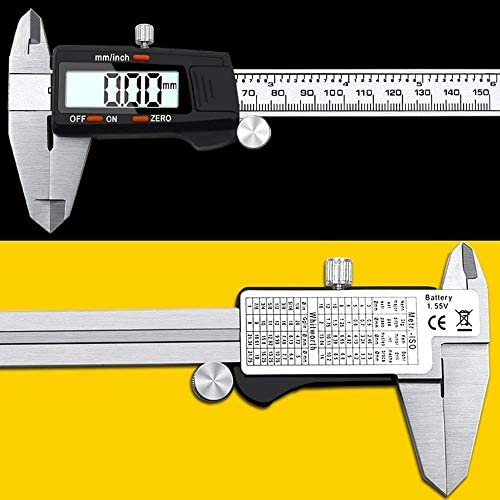 kaige Black Plastic Head Stainless Steel Vernier Caliper 0-150mm Electronic Digital Caliper Inner and Outer Diameter Measuring Tool (Size : 0-150mm) WKY
