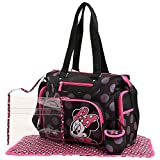 Disney Minnie Mouse Tonal Dot Print Five Piece Diaper Bag Set