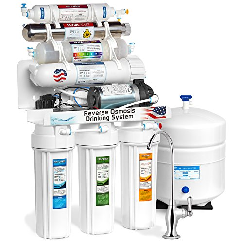 Express Water 11-Stage Reverse Osmosis Alkaline Remineralization + UV Ultraviolet Filter System with Booster Pump 100-GPD - Filter De Micro Clear
