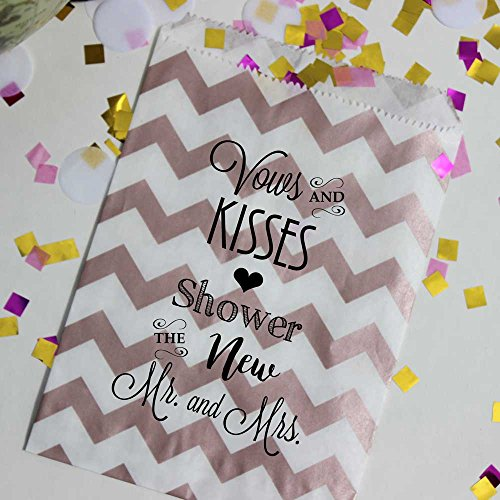 Wedding Toss Bags, Vows & Kisses Shower the New Mr & Mrs, Rose Gold and White Chevron Confetti Bags, Set of 48 Bags and 48 Stickers by Bakers Bling