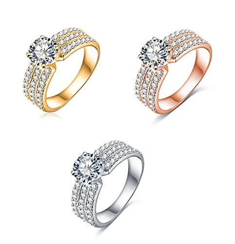 AMDXD Jewelry Round Cut 3 Rows White Zirconia Engagement Rings for Womens Gold Plated 7MM Width