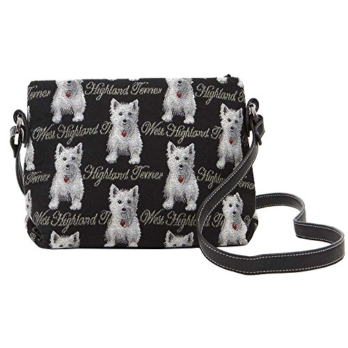 Black & White Westie Dog Print Women's Tapestry Mini Satchel Across-body Purse Bag with Adjustable Strap also as Small Shoulder Bag by Signare (XB02-WES