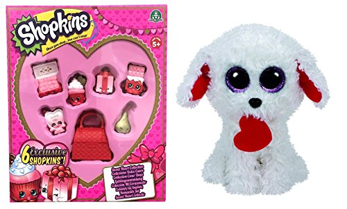 Shopkins Sweetheart Collection 6 Pack PLUS Ty Beanie Boos Honey Bun Valentine Poodle