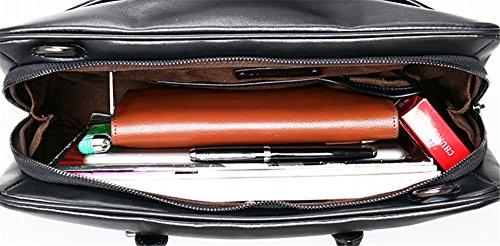 Xinmaoyuan Hombres Hombres de Negocios de cuero Bolsos Bolso bandolera de sección transversal Multi-Compartment tejida Maletín bolso de mano, negro Negro