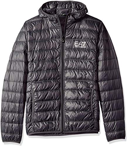 Emporio Armani EA7 Men s Train Core Down Hooded Jacket, Anthracite, Extra  Large 5778f0ab0b4