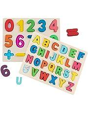 Jacootoys Houten Alfabet en Cijfer Puzzel Leren Bordspel Peuters Educatief Speelgoed Cadeau voor Kinderen Meisjes Jongens