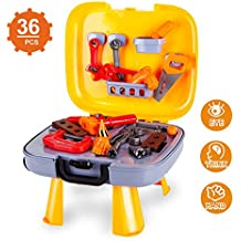 Kids Tool Set-Pretend Play Workbench for Toddlers with a Durable Plastics Case and 36 Pieces Construction Accessories-Including Wrench Drill Hammer Saw and More.