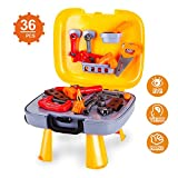 Kids Tool Set-Pretend Play Workbench Toddlers a Durable Plastics Case 36 Pieces Construction Accessories-Including Wrench Drill Hammer Saw More.