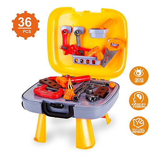 Kids Tool Set-Pretend Play Workbench for Toddlers with a Durable Plastics Case and 36 Pieces Construction Accessories-Including Wrench Drill Hammer Saw and - Set Work