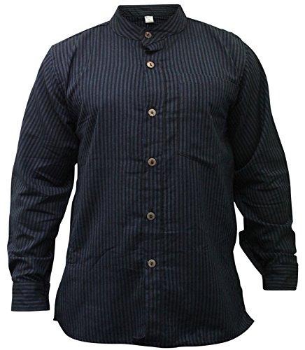Shopoholic Fashion Mens Stripe Hippie Grandad Shirt (L,New Blue)