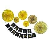 Dovewill Happy Birthday Garland Pinwheel Fans Wall Hanging Birthday Party Decoration - Yellow