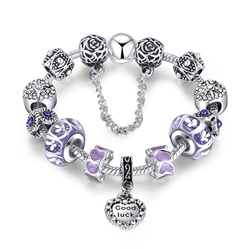 Good Luck Charm Bracelet Flower Purple Murano Glass Beads Engraved