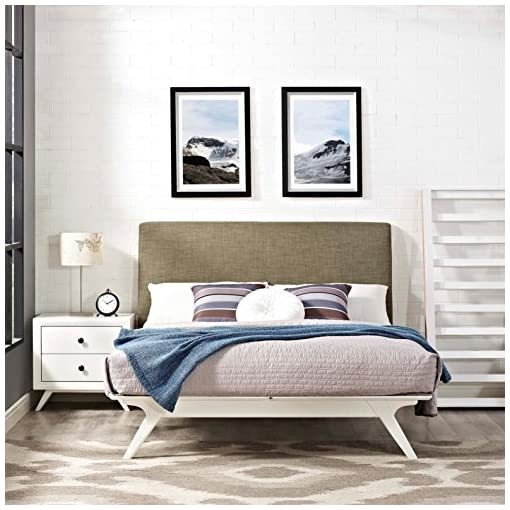 Bedroom Modern Contemporary Urban Design Bedroom Queen Size Platform Bed Frame, Brown White, Fabric Wood modern beds and bed frames