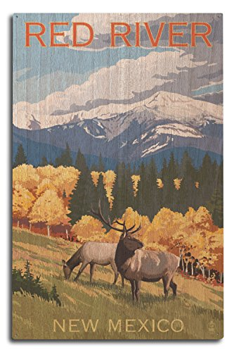 (Lantern Press Red River, New Mexico - Elk and Mountains (10x15 Wood Wall Sign, Wall Decor Ready to Hang))