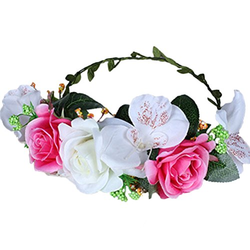 Vivivalue Floral Garland Flower Wreath Crown Headband for Festival Wedding Pink