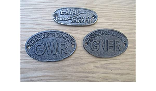 Ironmongery World® Vintage antiguo estilo antiguo hierro fundido placa Papá cobertizo/garaje (gran del norte oriental ferrocarril): Amazon.es: Bricolaje y ...