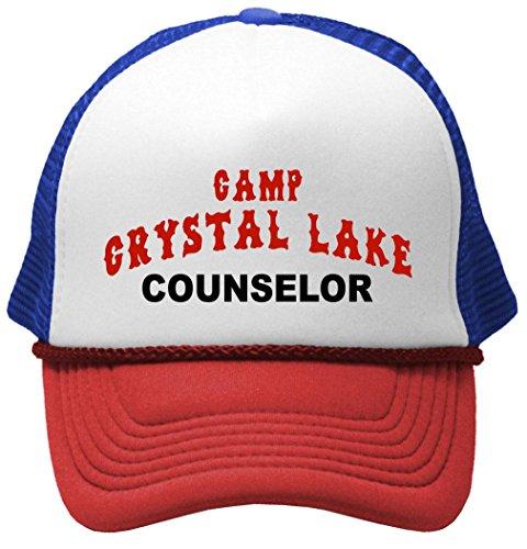 CRYSTAL LAKE COUNSELOR - funny 80s horror movie Mesh Trucker Cap Hat, RWB