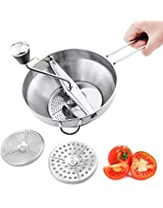 Floatant Stainless Steel Food Mill 3 Milling Discs Mash Grinder Dishwasher Safe for Making Puree or Soups of Vegetables, Baby Foods, Easy Clean & Easy Assemble 2-Quart, Silver
