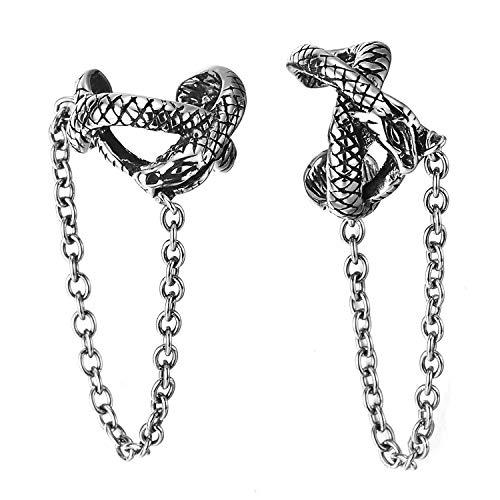 Men Women Steel Gothic Vintage Snake Ear Cuff Ear Clip Non-Piercing Clip On Earrings Dangling Chain