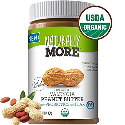 Naturally More Organic All Natural Valencia Peanut Butter-Probiotic Infused-Premium Roasted Peanut Taste-Heart Healthy Flax 16oz by Ready Roast Nut Co.
