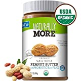 Naturally More Organic All Natural Valencia Peanut Butter-Probiotic Infused-Premium Roasted Peanut Taste-Heart Healthy Flax 16oz