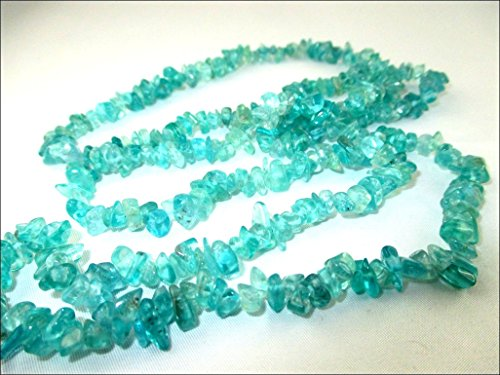 HiJet Apatite Chips Strands Mala Approx. 32-34 Inch Long for making Jewelry Balancing Positive Energy Harmony Luck Yoga Meditation Reiki Unique Genuine Authentic Fashion Style Easter - Strand Apatite