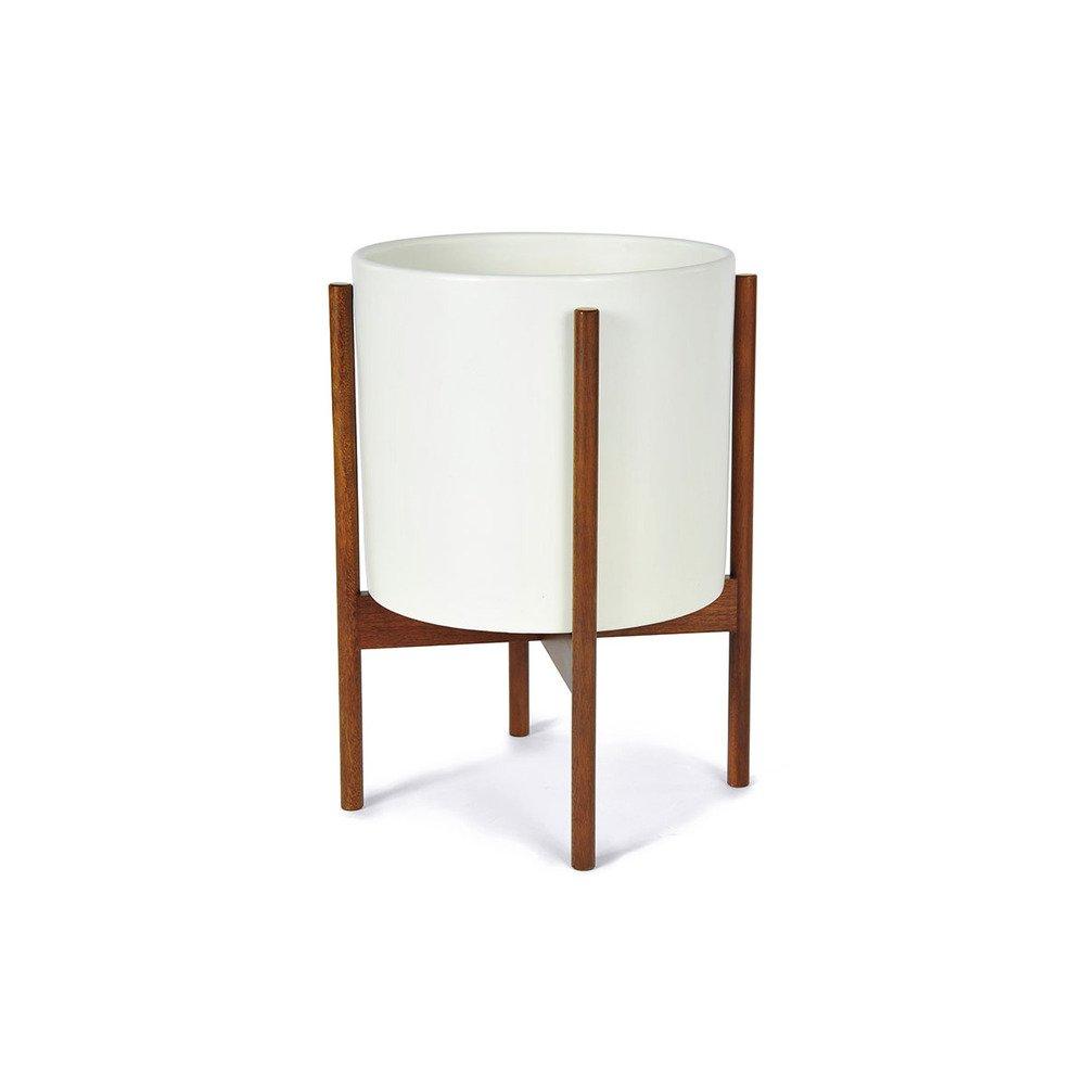 Amazon.com : Case Study Ceramic Planter with Wood Stand - Small - White :  Patio, Lawn & Garden - Amazon.com : Case Study Ceramic Planter With Wood Stand - Small