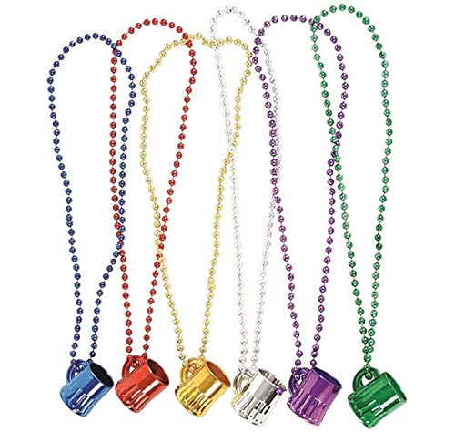 Rhode Island Novelty Mardi Gras Mug Shot Glass Beads | 12 Necklaces |]()