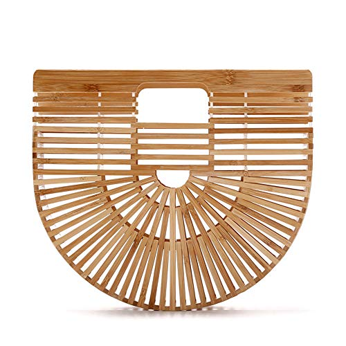 Women Bamboo Purse Handmade Handbag Wooden Tote Straw Bag by vodiu (Image #7)