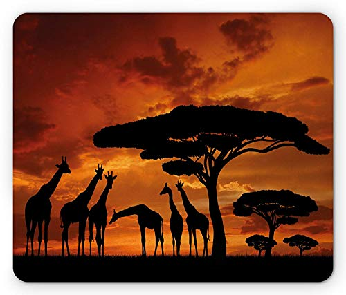 - Africa Mouse Pad, Safari Animal with Giraffe Crew with Majestic Tree at Sunrise in Kenya, Standard Size Rectangle Non-Slip Rubber Mousepad, Burnt Orange and Black