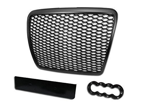 Velocity Concepts Black Finished Rs-Sport Honeycomb Mesh Front Hood Bumper Grill Grille for 2008-2011 Audi A6 / S6 C6 Facelift