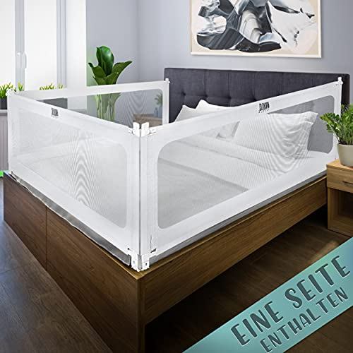 BBarandilla de cama Kids Supply [180x80cm] - Barandilla de cama extremadamente segura y ajustable en altura [70-90 cm] - Protección contra caídas para camas de niños y adultos