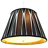 2 Light Swag Plug-In Pendant with Diffuser 10.5x16x11 Black/Beige