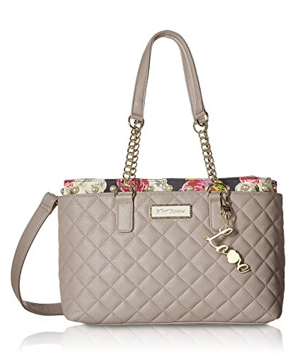 Betsey Johnson Pearl Collar Multi Compartment Satchel Shoulder Bag - Grey (Betsey Satchel)