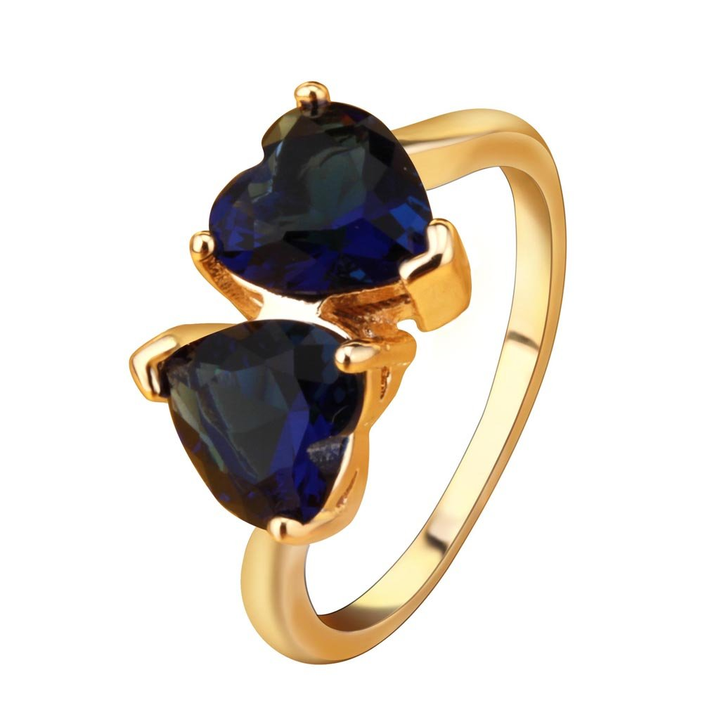 YAZILIND Charming Double Love Heart Anniversary Ring Gold Plated Blue Cubic Zirconia Ring for Women