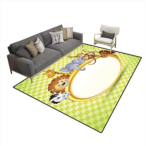 Extra Large Area Rug Animal in Baby Shower Invitation 5'x7' (W150cm x L210cm