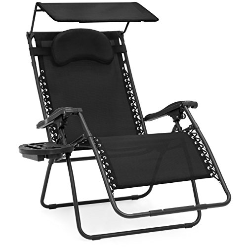 Best Choice Products Oversized Zero Gravity Reclining Lounge Patio Chairs w/Folding Canopy Shade and Cup Holder (Black) by Best Choice Products