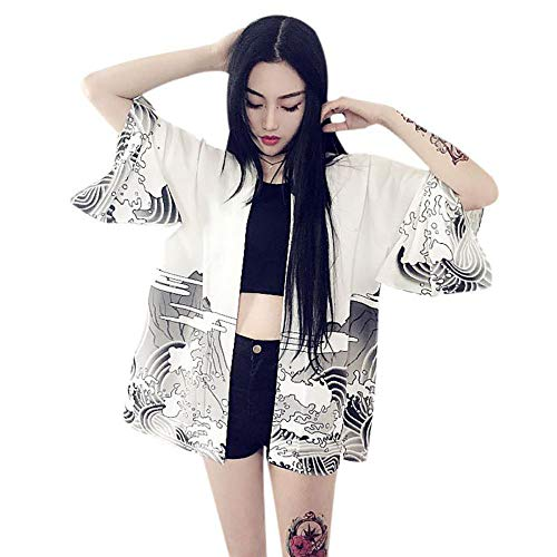 - Women's Jacket Kimono Print Chiffon Cardigan Waves Wind Dragon Fashion Trench Coats White