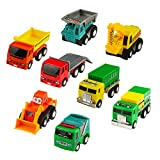 Yoptote Push Pull Back Car Toy Mini Cars Toys Truck Model Set Working Vehicle Truck Series 8 pcs Great Gift for Kids Boys Girls Above 3 Years Old