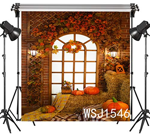 LB 10x10ft Halloween Backdrop Thanksgiving Pumpkins Straw Indoor Photography Background Party Studio Prop Customized WSJ1546