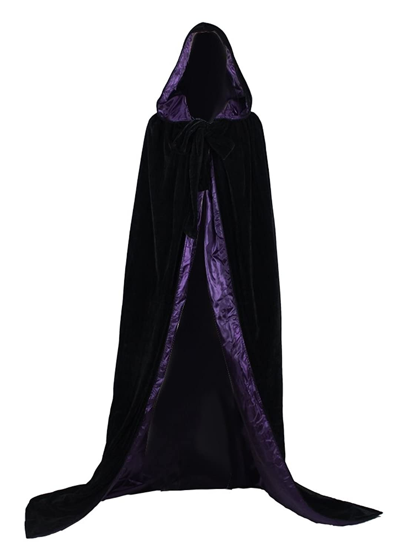 amazoncom angelwardrobe black velvet wedding cape purple silk halloween hooded cloak clothing