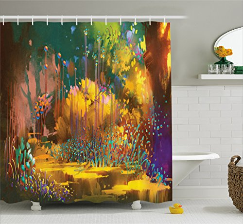 (Ambesonne Fantasy Art House Decor Shower Curtain by, Imaginary Forest with Psychedelic Feature Effects Fairy Jungle Boho, Fabric Bathroom Decor Set with Hooks, 70 Inches, Multi)