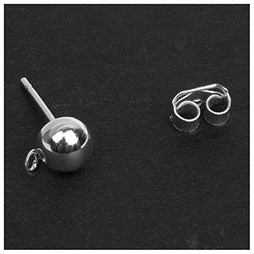 TOOGOO(R) 60X Goujons Metal blanc argente +bouchons d'oreille