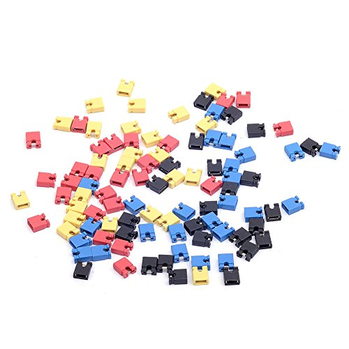 Price comparison product image Cylewet 100Pcs 2.54mm Jumper Cap Short Circuit Cap Circuit Board IDE Laptop PCB Mini Micro Jumper Bridge Plug for Arduino (Pack of 100) CYT1058