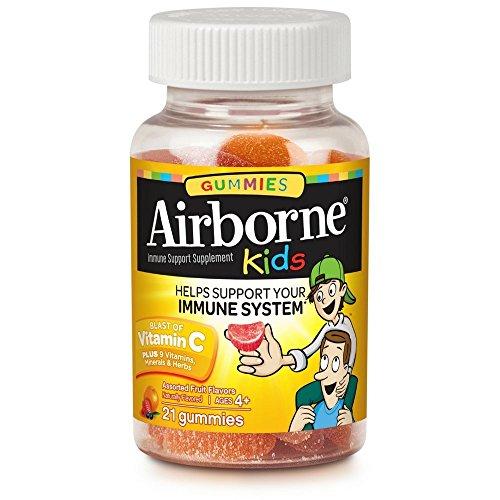 Airborne Enfants Gummies Vitamine 667mg système Immunitaire Supplément, un Assortiment de Saveurs de Fruits, 21 Comte