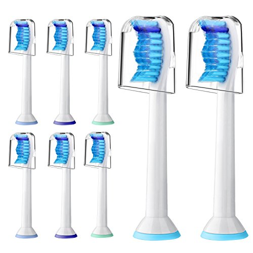 ads for Philips Sonicare Electric Toothbrush,Fits Plaque Control,Gum Health,DiamondClean,ProtectiveClean,FlexCare,HealthyWhite Sonic Handles,8 Pack HX6014 by Neurora ()